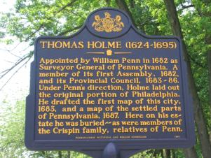 Dedication Plaque at the grave of Thomas Holme in Philadelphia