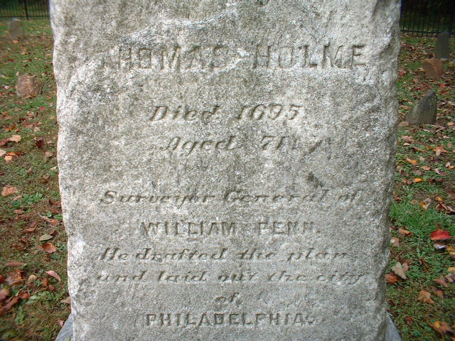 Inscription on gravestone of Thomas Holme in Philadelphia